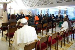 Papa Francisco en la capilla de la residencia de Santa Marta